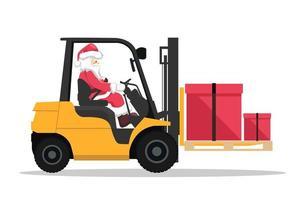 design di babbo natale alla guida di un carrello elevatore a forcale con una confezione regalo