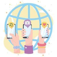 mani con la comunicazione e le tecnologie della rete sociale dell'applicazione del mondo dello smartphone vettore