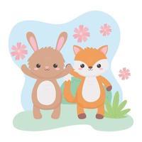 carino volpe coniglio fiori fogliame animali dei cartoni animati in un paesaggio naturale vettore