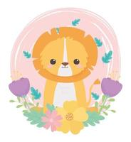 simpatico piccolo leone fiori foglie fogliame animali dei cartoni animati in un paesaggio naturale vettore
