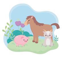 simpatico cavallo capra salvadanaio fiori cespuglio erba animali dei cartoni animati in un paesaggio naturale vettore