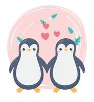 coppia carina pinguino cuori lascia animali dei cartoni animati in un paesaggio naturale vettore