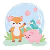 carino piccolo volpe maiale pappagallo fiori cespuglio animali dei cartoni animati in un paesaggio naturale vettore