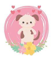 simpatico cagnolino fiori cuori animali dei cartoni animati in un paesaggio naturale vettore