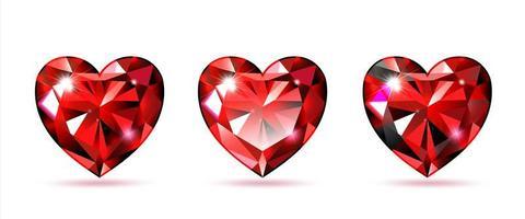 set rubino a forma di cuore vettore