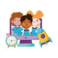 torna a scuola, personaggi studenti computer orologio e libri zaino educazione elementare cartone animato vettore