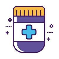 linea di droga bottiglia di medicina e stile di riempimento