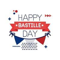 ghirlande con bandiera della francia e scritte in stile piatto