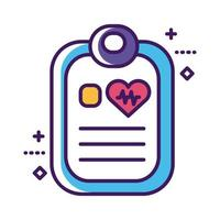 lista di controllo medico con linea del documento e stile di riempimento vettore
