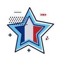 stella con progettazione dell'illustrazione di vettore di stile piano della bandiera della Francia