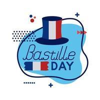 cappello a cilindro con bandiera della francia e lettering bastiglia stile piatto