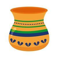Vaso in ceramica stile piatto indù icona illustrazione vettoriale design