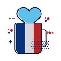 bandiera della Francia in tazza con design illustrazione vettoriale stile piatto cuore