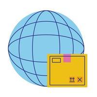 browser pianeta sfera con stile piatto scatola