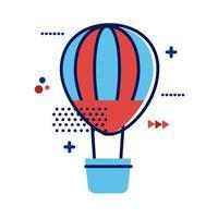 icona di stile piano di viaggio in mongolfiera ad aria calda