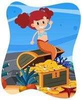 carina sirena in sottofondo subacqueo vettore