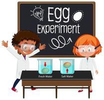 giovane scienziato che spiega esperimento scientifico con test di galleggiamento delle uova vettore
