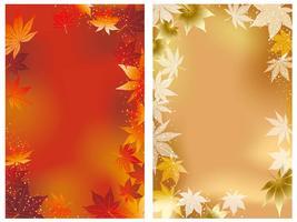Due immagini di sfondo vettoriale con grafica autunnale.