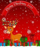carattere di buon natale 2020 con personaggio dei cartoni animati di renne vettore
