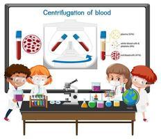 giovane scienziato che spiega la centrifugazione del sangue davanti a una tavola con elementi di laboratorio vettore