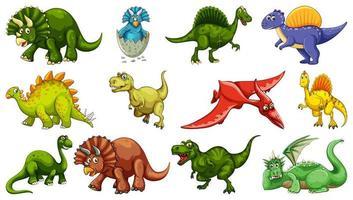 set di diversi personaggi dei cartoni animati di dinosauro isolati su sfondo bianco vettore