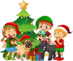 gruppo di bambini con il loro cane che indossa il costume di Natale su sfondo bianco vettore