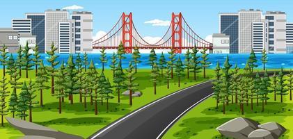 città con scena del paesaggio del parco naturale vettore