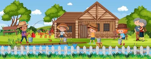 bambini che pescano nella scena della natura vettore