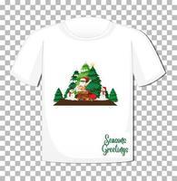 personaggio dei cartoni animati di Babbo Natale su t-shirt vettore