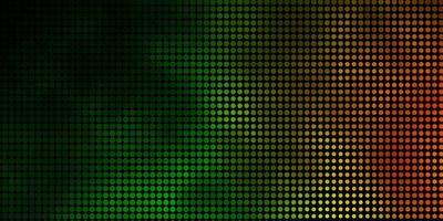 layout vettoriale verde scuro, rosso con forme circolari.