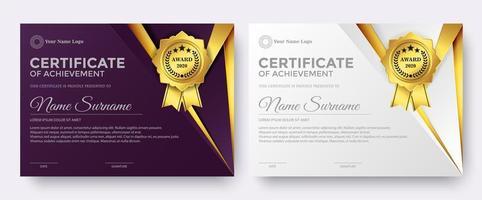 elegante modello di premio certificato viola e bianco vettore