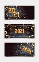 eleganti modelli di banner felice anno nuovo 2021 vettore