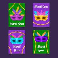 mardi gras mask e collezione di carte perline