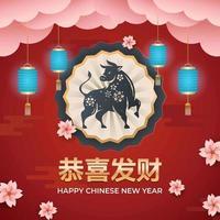 segno zodiacale del bue del nuovo anno cinese vettore