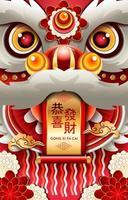 gong xi fa cai concetto di testa di danza del leone