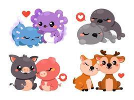 collezione di coppie di animali di san valentino vettore