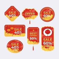 set di etichetta di offerta di vendita di capodanno cinese vettore
