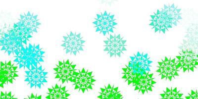 modello vettoriale verde chiaro con fiocchi di neve di ghiaccio.