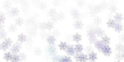 struttura di doodle vettoriale viola chiaro con fiori.