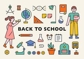 icona di materiale scolastico e studente