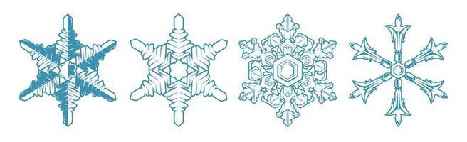 impostare icona vettore fiocco di neve su sfondo bianco