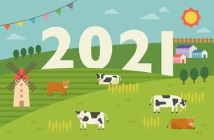2021 biglietto di auguri villaggio tranquillo.
