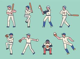 simpatico set di caratteri del giocatore di baseball. vettore