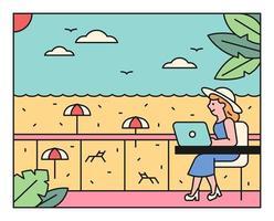 una donna che lavora in vacanza in spiaggia. vettore