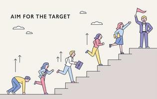 concetto di persone d'affari in movimento verso l'obiettivo.