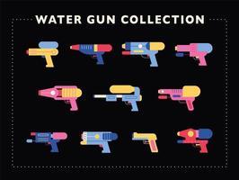 una raccolta di vari modelli di pistole ad acqua.