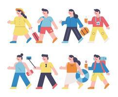 personaggi di persone che vanno in viaggio. vettore