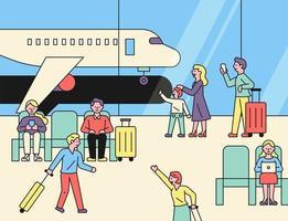 puoi vedere gli aeroplani fuori dal finestrino con i viaggiatori all'aeroporto.