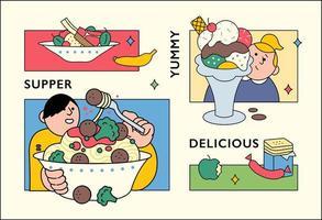 poster di cibo con composizione cornice quadrata.