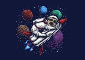 illustrazione vettoriale di bradipo astronauta